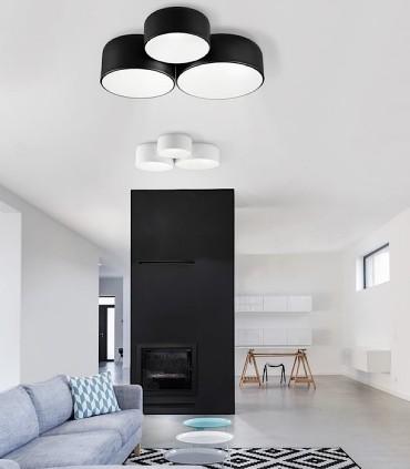 Imagen de ambiente de plafón POT blanco junto a POT negro