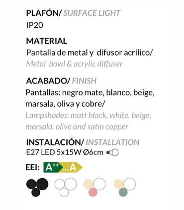 Características Lámparas de techo POT 5L triple - Ole by FM