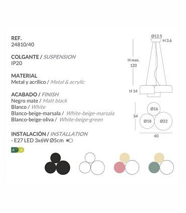 Características de Lámparas de techo POT 3L triple - Ole by FM