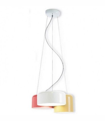 Lámpara techo POT 3L blanco-beige-marsala triple - Ole by FM