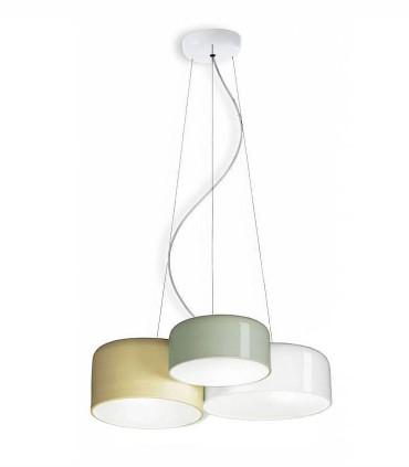 Lámpara techo POT 3L blanco-beige-oliva triple - Ole by FM