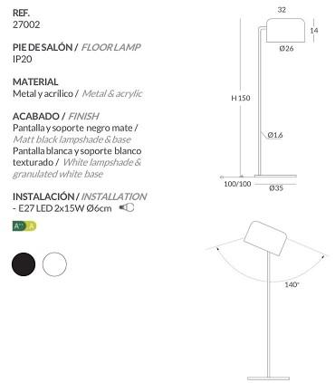 Características Lámpara de pie POT blanco, negro - Ole by FM
