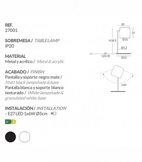 Características Lámparas de mesa POT blanco, negro - Ole by FM