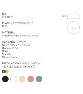 Características Plafones POT 31cm Ole by FM