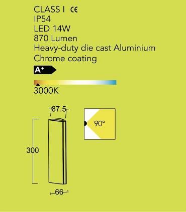 Aplique Led Cromo 14W Aluminio. Especificaciones.