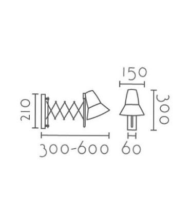 Dimensiones Aplique pared orientable FLEXI cromo E27