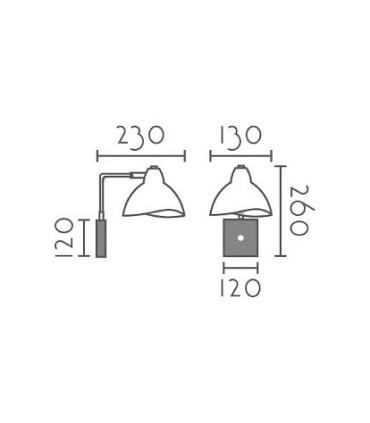 Dimensiones Aplique pared nórdico ND9 metal negro-madera E27