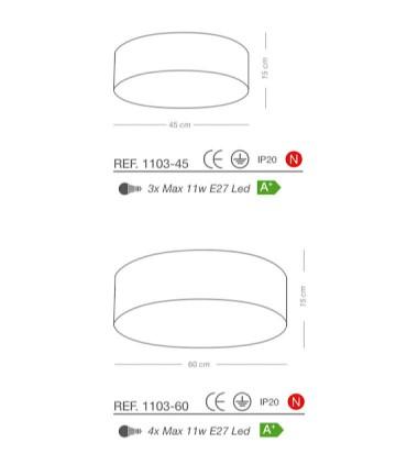 Características Plafones de techo pantalla RAFIA Classic E27 - ILUSORIA