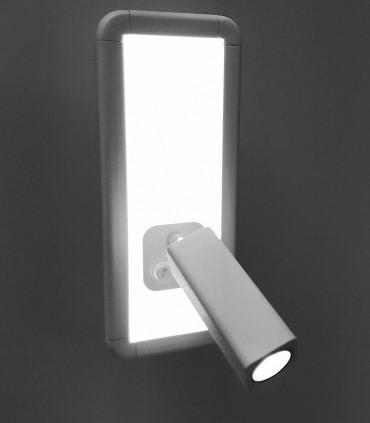 Aplique con lector IBIZA led blanco 2 luces. 5257. Difusor iluminado.