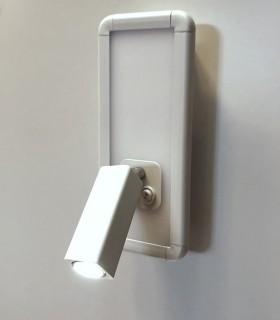 Aplique con lector IBIZA led blanco 2 luces. 5257. Foco orientable iluminado.