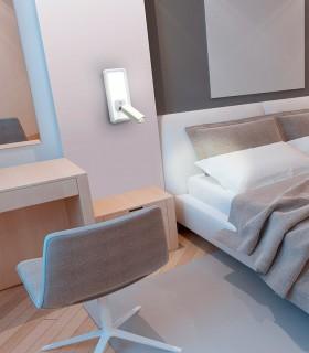 Aplique con lector IBIZA led blanco 2 luces. 5257. Ideal para cabecero de cama para hotel o casa.