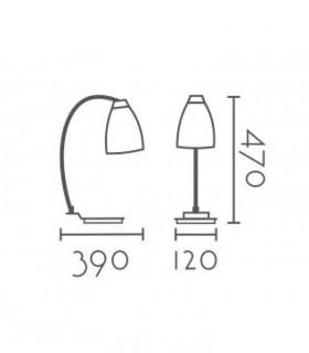 Dimensiones Lámpara mesa nórdica ND17S metal blanco-madera E27