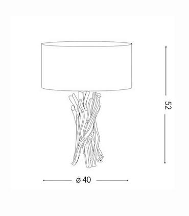 Dimensiones Lámpara de mesa DRIFTWOOD TL1 de Ideal Lux