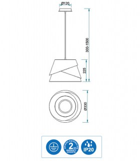 Características Colgante de techo ALBORÁN Blanco 33cm 5862 Mantra