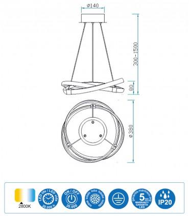 Características Lámpara de techo INFINITY Blanco Led 30W 2800K 5993 Mantra