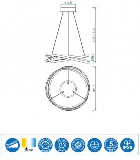 Características Lámpara de techo INFINITY Blanco Led 42W DIMMABLE 2800K 5990 Mantra