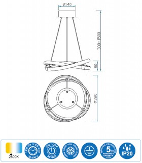 Características Lámpara de techo INFINITY Led Forja 30W 2800K 5394 Mantra