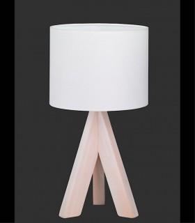 Lámpara de mesa de madera con pantalla.