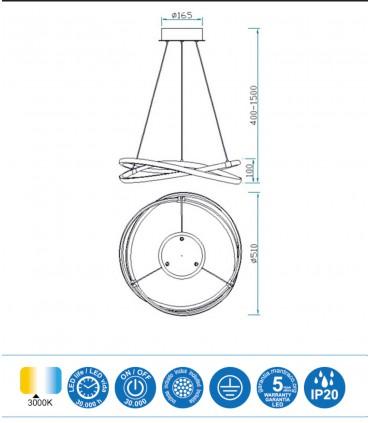 Características Lámpara de techo INFINITY Led Plata 42W 3000K Mantra