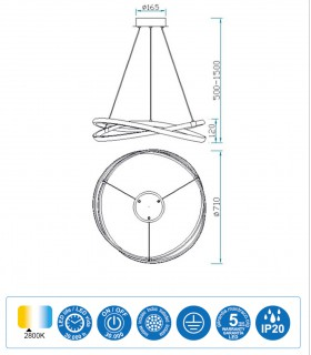 Características Lámpara de techo INFINITY Led Forja 60W 2800K Mantra