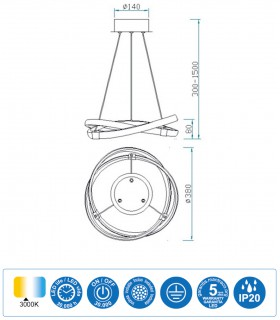 Características Lámpara de techo INFINITY Led 30W 3000K 5384 Mantra