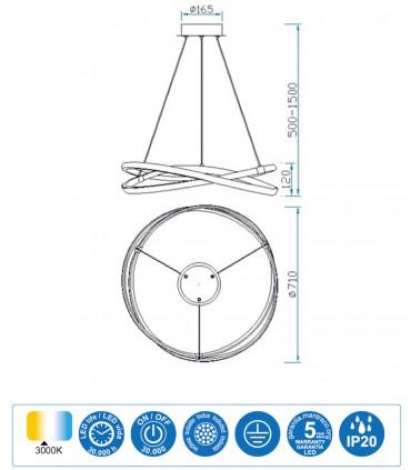 Características Lámpara de techo INFINITY Led Plata 60W 3000K Mantra