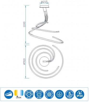Características Lámpara de techo NUR XL Blanco Led 80W Triple DIMMABLE 2800K 6007 Mantra