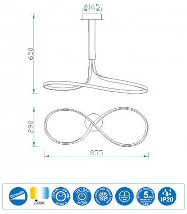 Características Lámpara de techo NUR Blanco 40W Lazo Dimmable Altura 65cm 2800K 6003 Mantra