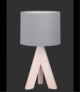 Lámpara de mesa madera con pantalla gris