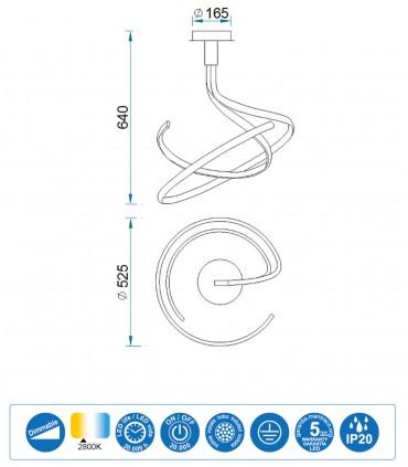 Características Lámpara de techo NUR Blanco Led 50W Doble DIMMABLE 2800K 6001 Mantra