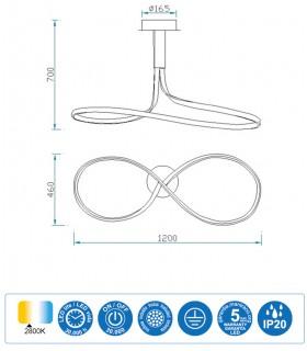 Características Lámpara de techo NUR XL Led Forja 50W Lazo 2800K Mantra