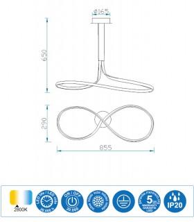 Características Lámpara de techo NUR Led Forja 40W Lazo Altura 65cm 2800K Mantra