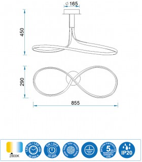Características Lámpara de techo NUR Led Forja 40W Lazo altura 45cm 2800K Mantra