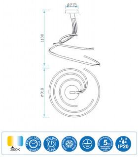 Características Lámpara de techo NUR XL Led Forja 80W Triple 2800K Mantra