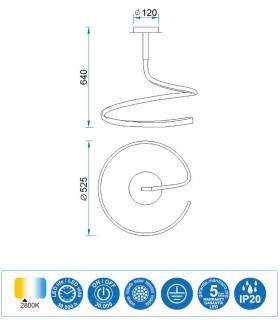 Características Lámpara de techo NUR Led Forja 30W Simple 2800K Mantra