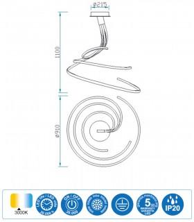 Características Lámpara de techo NUR XL Led 80W Triple 3000K Plata Mantra