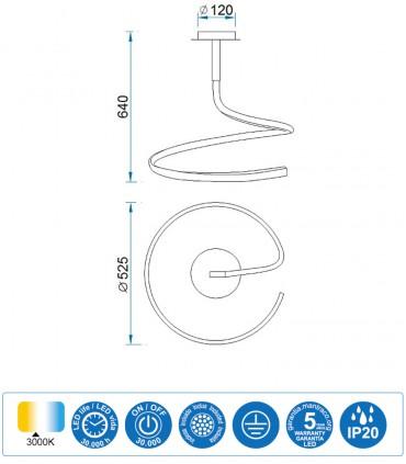 Características Lámpara de techo NUR Led 30W Simple plata Mantra