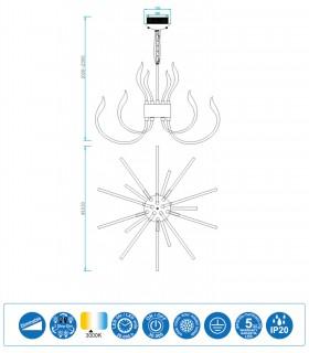 Lámpara VERSAILLES led Grande, 103cm 5560 Mantra