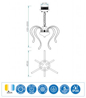 Características Lámpara VERSAILLES led 53cm 5564 Mantra