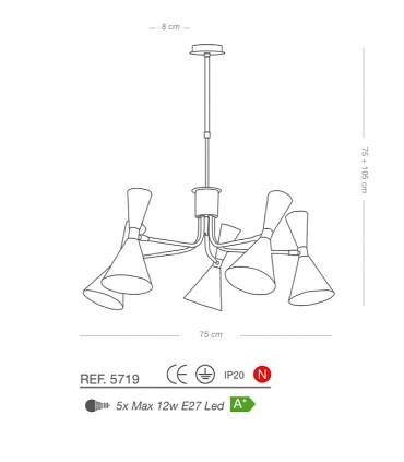 Características Lámpara de techo STEP 5L E27 Ø75cm - ILUSORIA