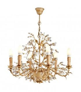 Lámpara VERDI 6 luces marfil y oro - Schuller