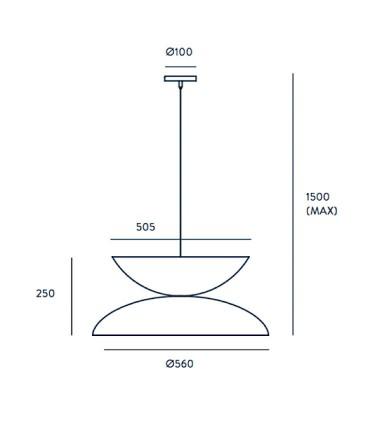 Dimensiones Lámpara YOYO C1222 3 luces oro-blanco - Aromas