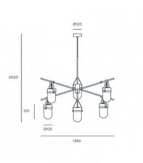 Dimensiones Almon 6 luces Negro C1264/6 - Aromas