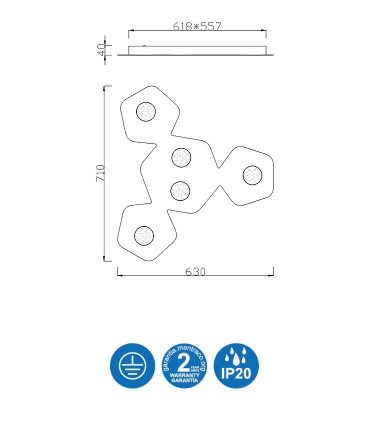 Dimensiones: Area Plafón 5 luces - Mantra