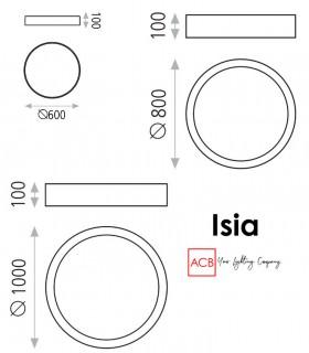 Dimensiones de plafones de techo ISIA LED blancos de ACB