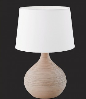 Lámpara de mesa cerámica salmón con pantalla blanca