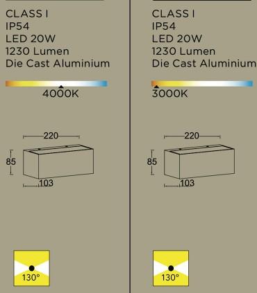 Características aplique Led GEMINI M 20W 1.250 lm Gris Oscuro 22cm
