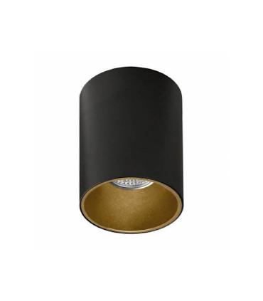 Foco superficie SOUL GU10 negro-oro Ø80mm - ACB