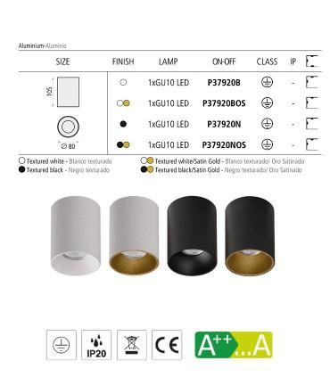 Características Focos de superficie SOUL GU10 Ø80mm - ACB