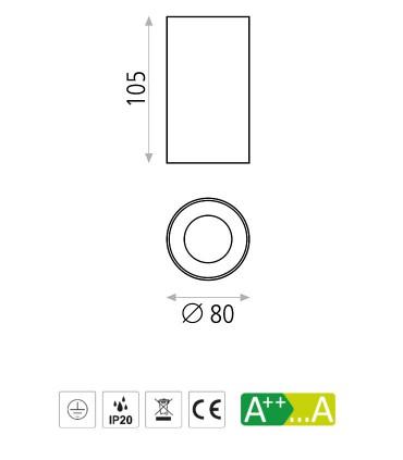 Dimensiones Focos de superficie SOUL GU10 Ø80mm - ACB
